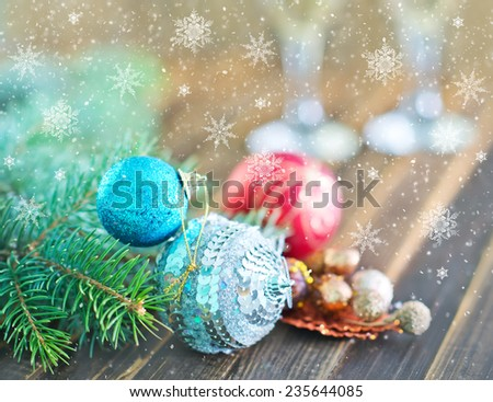christmas decoration  and glass of champagne  - stock photo