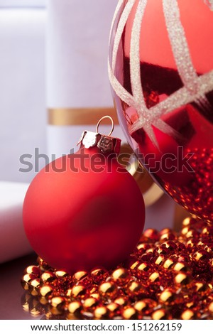 christmas decoration and toys against color background