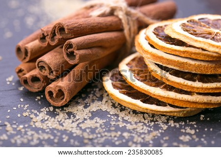 christmas decoration, anise, cinnamon, orange slice  - stock photo