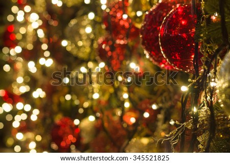 Christmas decoration background with shimmering lights - stock photo