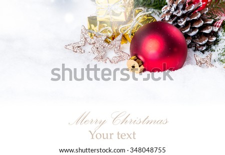 Christmas decoration, ball and pine tree isolated on white background, holiday background, Christmas concept  - stock photo