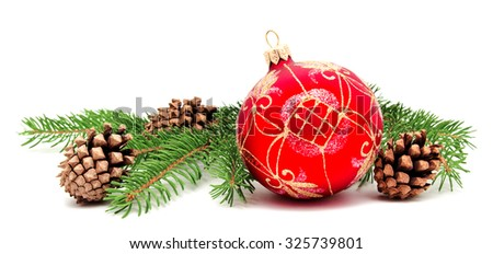 Christmas decoration ball with fir cones and fir branches isolated on a white background  - stock photo
