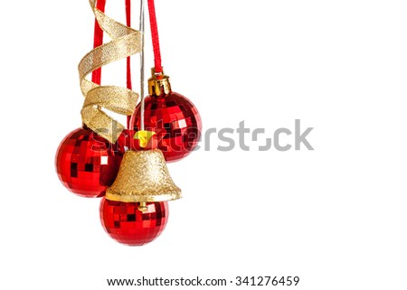 Christmas decoration, balls,  jingle bell and  ribbons. Christmas and New Year's Day greeting card - stock photo