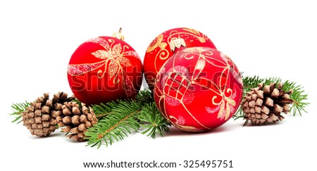 Christmas decoration balls with fir cones and fir branches isolated on a white background  - stock photo