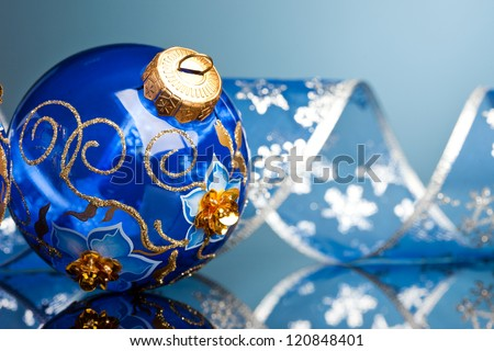 Christmas decoration balls with ribbon - stock photo