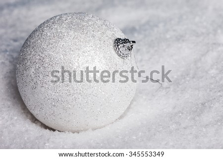 Christmas decoration balls with snow - stock photo