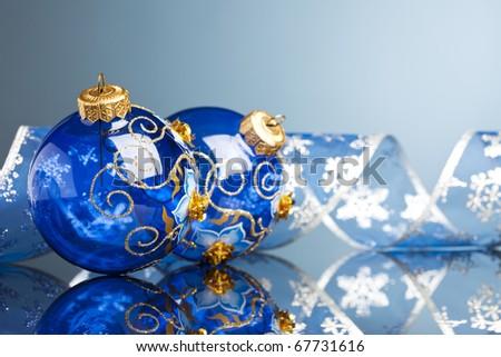 Christmas decoration balsl with ribbon - stock photo