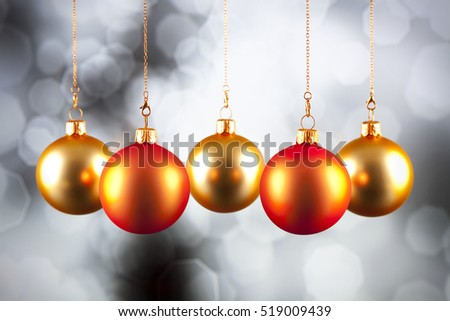 Christmas decoration - baubles on black and white background