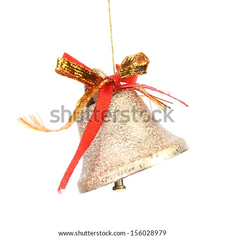 Christmas decoration bell with red ribbon. Isolated on a white background. - stock photo