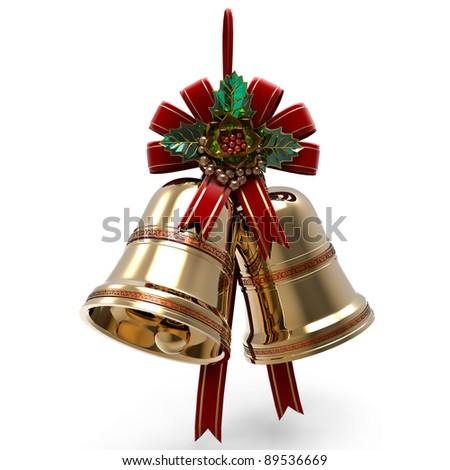 Christmas decoration. Bells Holly leaf and Ribbon - stock photo