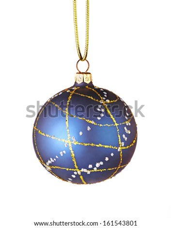 Christmas decoration. Blue ball - stock photo