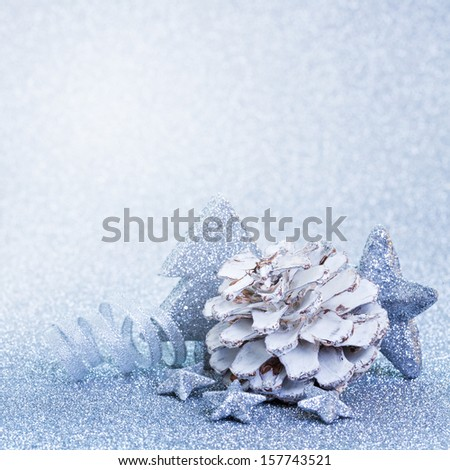 christmas decoration blue with copy space - stock photo