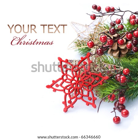 Christmas Decoration Border design isolated on white.With copy space - stock photo