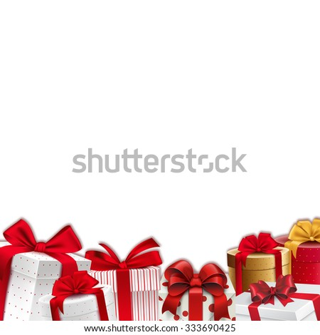 Christmas decoration border - frame - gift boxes with red ribbons  - stock photo