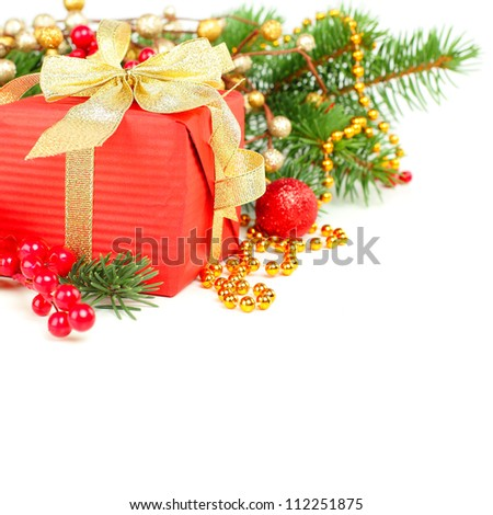 Christmas decoration border over white, background - stock photo