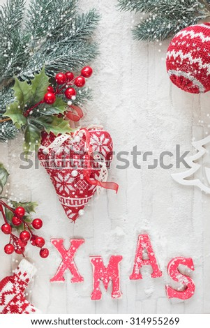 Christmas Decoration. Christmas background with Christmas decorations on rustic wood background.