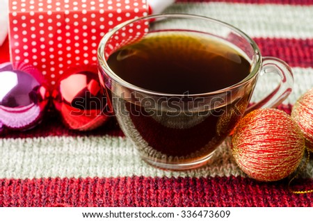 Christmas decoration,christmas ball,giftbox and coffee on red background