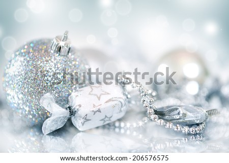 Christmas decoration. Christmas balls on blue background