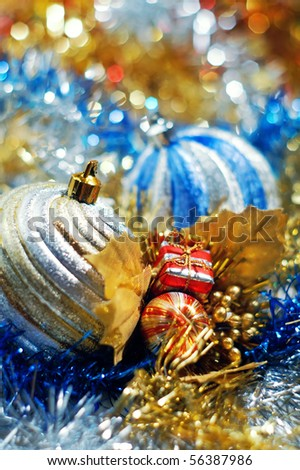 Christmas decoration,christmas baubles,shallow depth of field