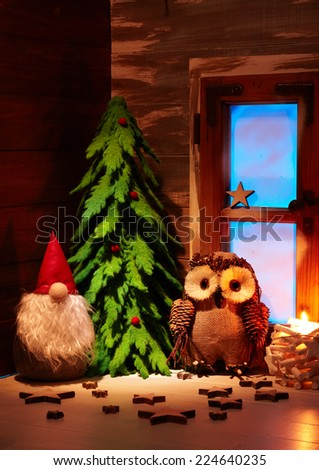 Christmas decoration. Christmas decor on the wooden background. - stock photo