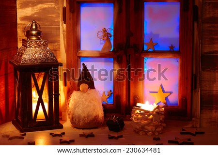 Christmas decoration. Christmas decor on the wooden background - stock photo