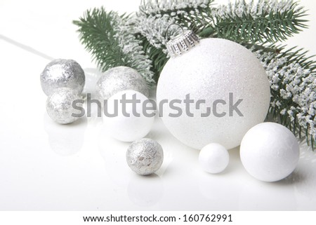 christmas decoration, christmas, decoration with fir branch, pine cones, christmas bauble silver and white  - stock photo