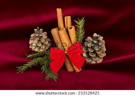 Christmas decoration - cinnamon sticks with red ribbon, cones and fir branches on red velvet background - stock photo