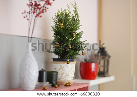 Christmas decoration close-up in a living room - stock photo