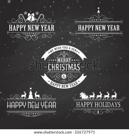 Christmas decoration collection of calligraphic and typographic elements on black with frames, vintage labels. Ribbons, stickers, Santa and angel. Hand drawn christmas balls, fur tree branches. - stock photo
