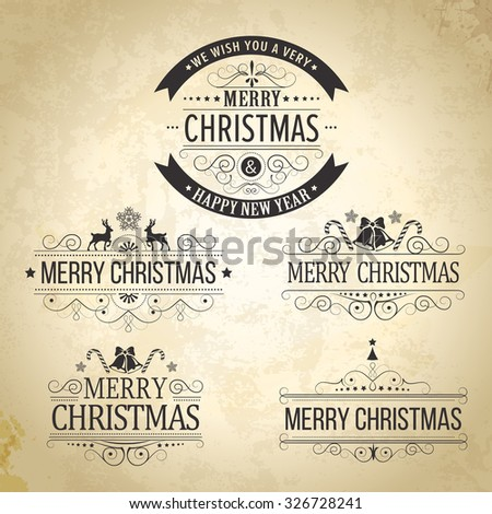 Christmas decoration collection. Set of calligraphic and typographic elements, frames, vintage labels. Ribbons, stickers, Santa and angel. Hand drawn christmas balls, fur tree branches and gifts - stock photo