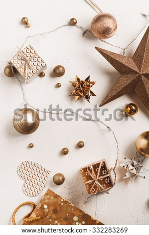christmas decoration colour themes: Bronze or Copper - stock photo