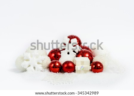 Christmas decoration composition in red and white. New Year 2016 colorful decor - stock photo