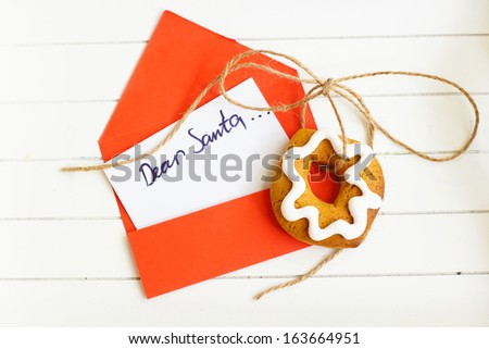 Christmas decoration: cookies and letter to Santa - stock photo