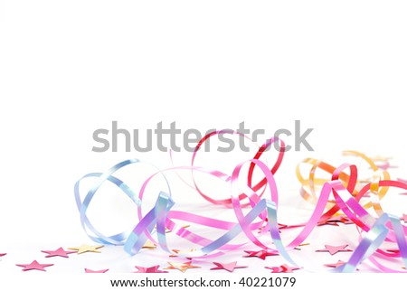 Christmas Decoration Elements--colorful ribbons on the white background - stock photo