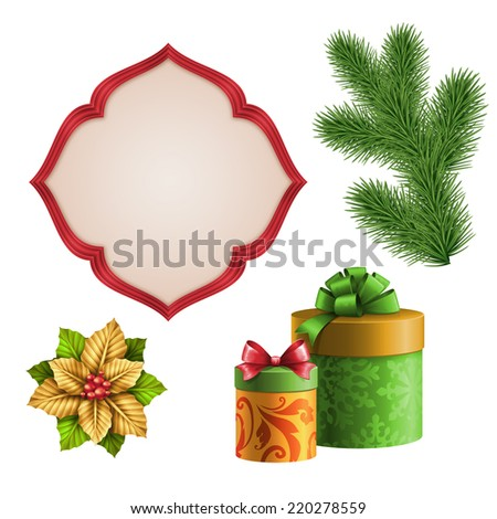 Christmas decoration elements, gift boxes, fir tree, poinsettia ornaments set, abstract flower design elements isolated on white background, illustration - stock photo