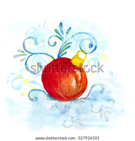 Christmas decoration elements. watercolor - stock photo