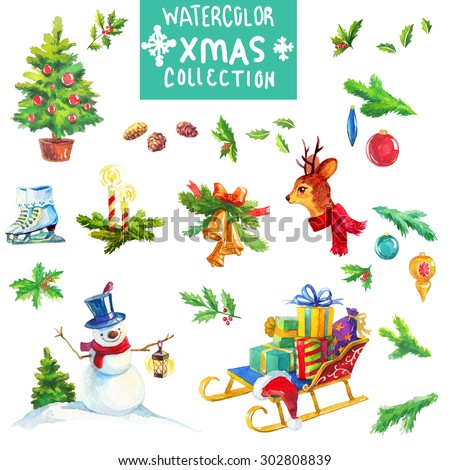 Christmas decoration elements, watercolor collection - stock photo