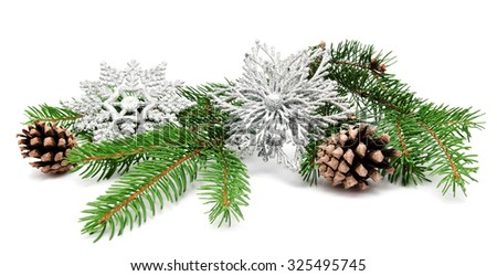 Christmas decoration fir cones and fir branches isolated on a white background  - stock photo