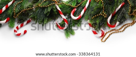 Christmas decoration frame isolated on white - stock photo