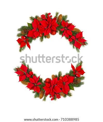 Christmas wreath poinsettia plant holly red stock vector for Poinsettia christmas tree frame
