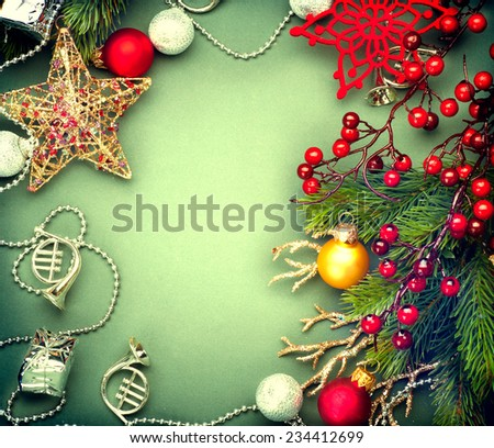 Christmas Decoration frame of Vintage baubles and garland. Christmas background. New Year card design. Sepia toned - stock photo
