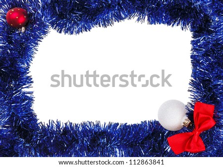 Christmas decoration frame with blue tinsel - stock photo