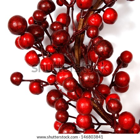 Christmas decoration from red berries isolated on white background - stock photo