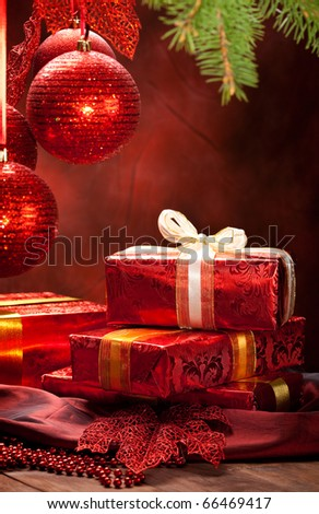 Christmas decoration - gifts and balls - stock photo