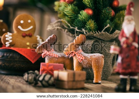 christmas decoration gingerbread cookies santa claus and reindeer with christmas tree presents and