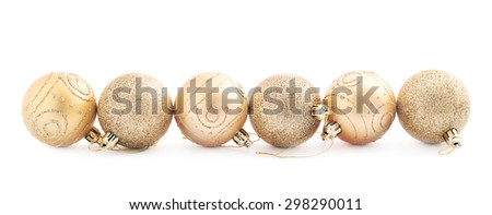 Christmas decoration golden balls composition isolated over the white background - stock photo