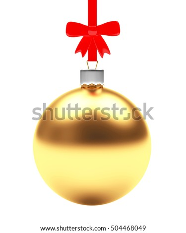 Christmas decoration. Golden Christmas ball with red bow on white background. 3D illustration