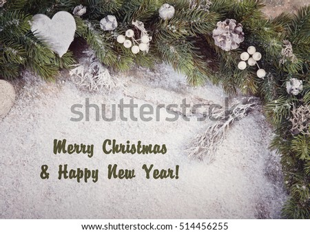 Christmas decoration greeting card with copy space