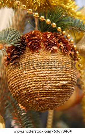 Christmas decoration hand-made ball - stock photo