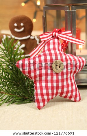 Christmas decoration - handmade star and gingerbread man